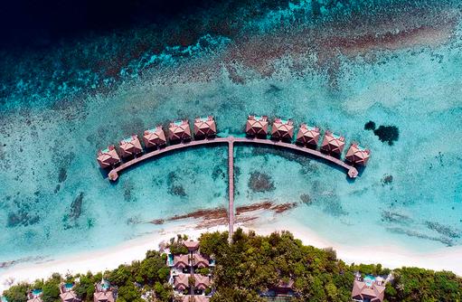 Luftaufnahme Sunset Water Pool Villas, Noku Maldives