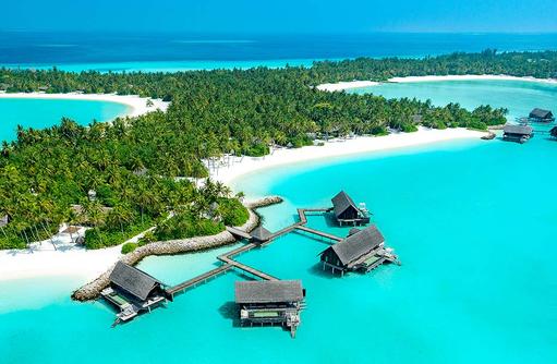 Water Villas mit Poo aus der Vogelperspektive, One & Only Reethi Rah, Maldives