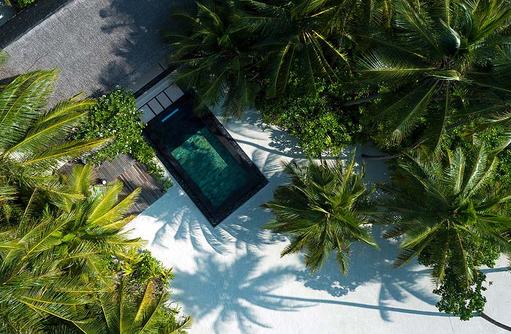 Beach Villa mit Pool, Ansicht von oben, One & Only Reethi Rah, Maldives