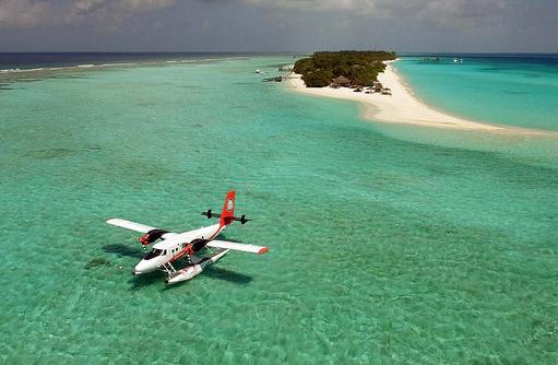 Wasserflugzeug in Lagune I Palm Beach Island