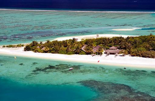 Blick von oben auf Nord-Westseite, Paradise Island Resort & Spa, Maldives
