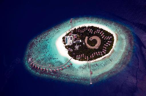 Vogelperspektive Insel, Park Hyatt Maldives Hadahaa, Maldives