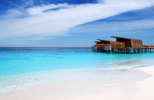 Blick auf die Wasservilla, Park Hyatt Maldives Hadahaa, Maldives