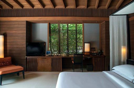 Schlafbereich der Park Villa, Park Hyatt Maldives Hadahaa, Maldives