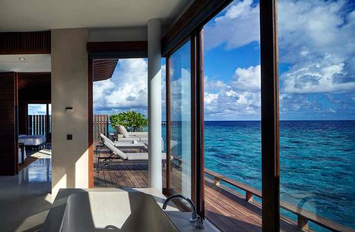 Badezimmer der Park Wasser Villa, Park Hyatt Maldives Hadahaa, Maldives