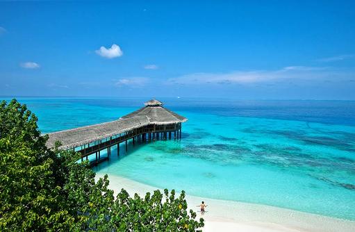 Luftaufnahme der Moodhu Bar, Reethi Beach Resort, Malediven