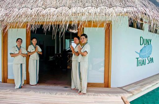 Willkommensgruß im Spa, Safari Island Resort, Maldives