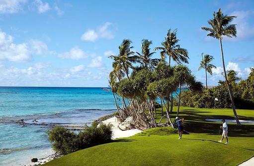 Golf, Abschlag, Shangri-La's Villingili Resort & Spa, Malediven