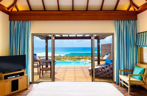 Ocean Pool Villa, Schlafzimmer, Sheraton Full Moon Resort & SPA, Malediven