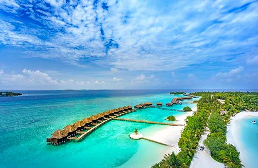 Luftaufnahme, Water Bungalows, Water Villen, Ocean Villen, Sheraton Full Moon Resort & SPA, Malediven