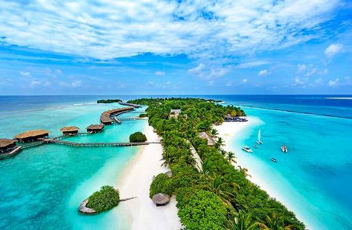 Luftaufnahme, Drohnenaufnahme, Sheraton Full Moon Resort & SPA, Malediven