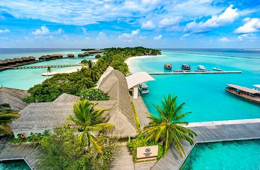 Arrival Pavilion, Drohnenaufnahme, Sheraton Full Moon Resort & SPA, Malediven