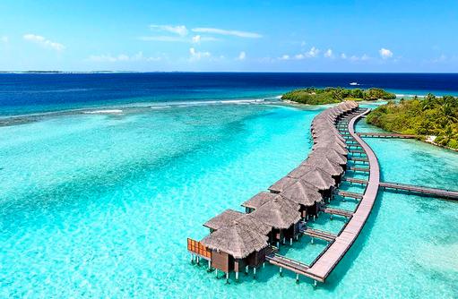 Luftaufnahme Water Villen, Sheraton Full Moon Resort & SPA, Malediven