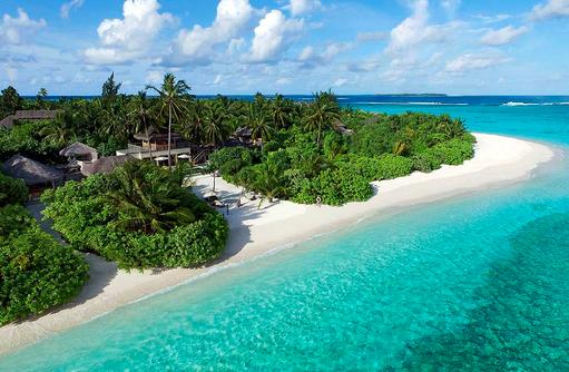 Two Bedroom Ocean Beach Villa, Luftaufnahme, Six Senses Laamu, Malediven