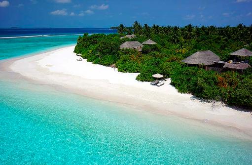 Strandabschnitt der Ocean Beach Villas, Six Senses Laamu, Malediven