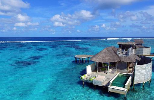 Laamu Water Ville with Pool, Luftaufnahme, Six Senses Laamu, Malediven