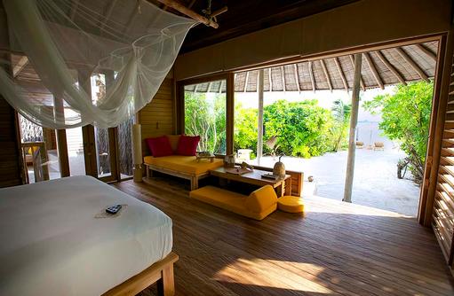 Beach Villa, Schlafen und Wohnen, Six Senses Laamu, Malediven