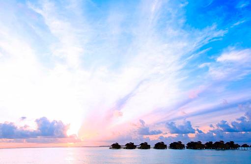 Sonnenuntergang, Six Senses Laamu, Malediven
