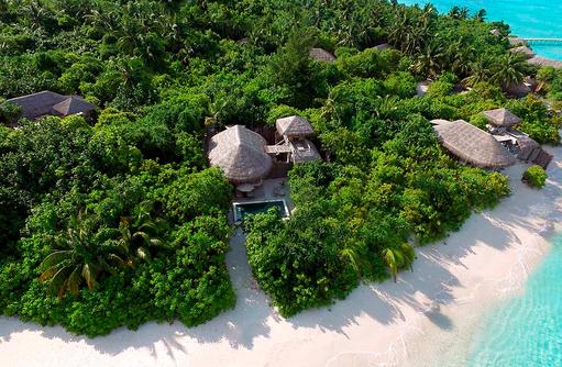 Ocean Beach Villa with Pool, Vogelperspektive, Six Senses Laamu, Malediven