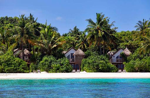 Blick auf die Crusoe Villen, Soneva Fushi, Maledives