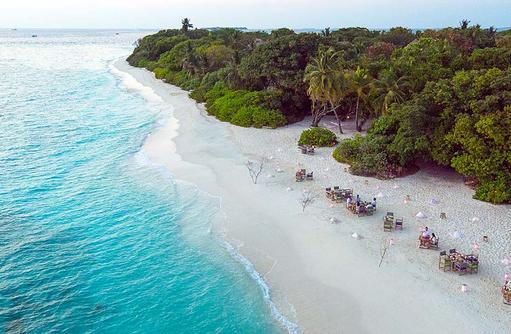Beach Dinner von oben, Soneva Fushi, Maledives