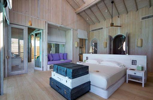 Schlafzimmer, One Bedroom Wasservilla, Soneva Jani, Maldives