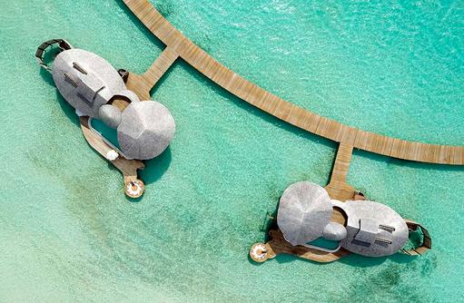 Vogelperspektive, One Bedroom Wasservilla, Soneva Jani, Maldives