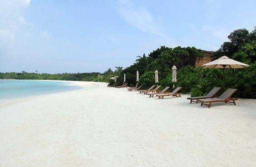 weißer Sandstrand mit Liegestühlen I The Barefoot Eco Hotel