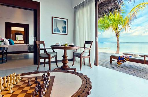 Einrichtung der Beach Villa, The Residence Maldives at Falhumaafushi