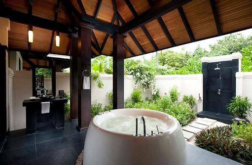 Beach Villa, Badezimmer, The Sun Siyam Iru Fushi, Maldives