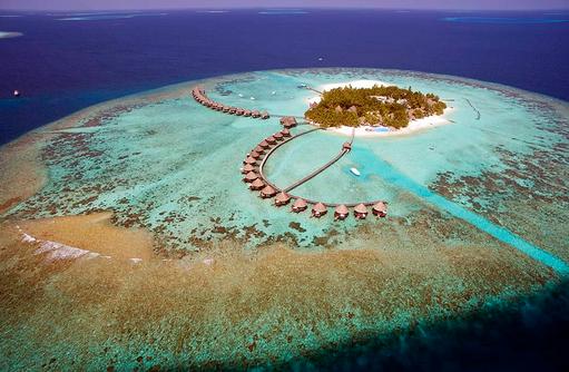 Blick von oben auf das Atoll, Thulhagiri Island Resort, Maldives