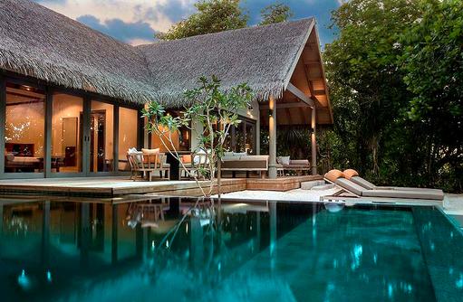Blick auf die Beach Pool Suite, Vakkaru, Maledives