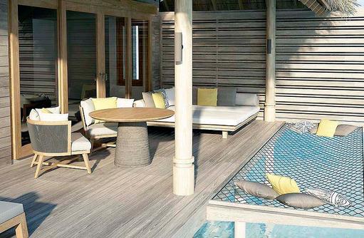Sonnendeck mit Katamarannetz einer Over Water Villa, Vakkaru, Maledives