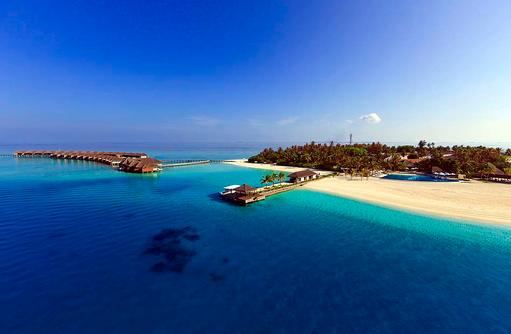 Blick auf den Inselsteg, Velassaru Maldives