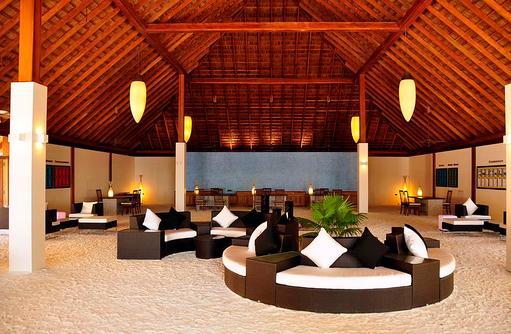 Rezeption mit Sandboden, Vilamendhoo Island Resort, Maldives