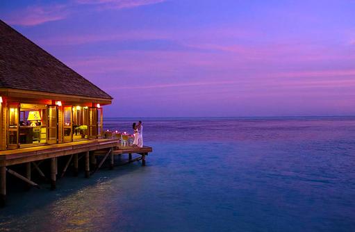 Abenddämmerung am Asian Wok, Vilamendhoo Island Resort, Maldives