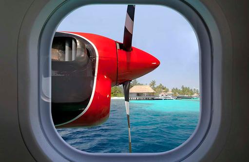 Wasserflugzeug, Blick aus dem Fenster, W Retreat & Spa Maldives