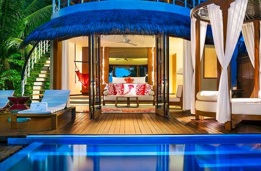 Wonderful Beach Oasis, Privatpool, Blick ins Schlafzimmer, W Retreat & Spa Maldives