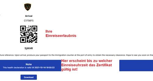 IMUGA Einreiseerlaubnis mit QR-Code
