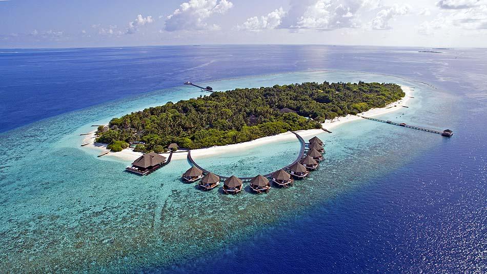 Blick auf die Wasservillen, Adaaran Prestige Meedhupparu Water Villas, Maldives