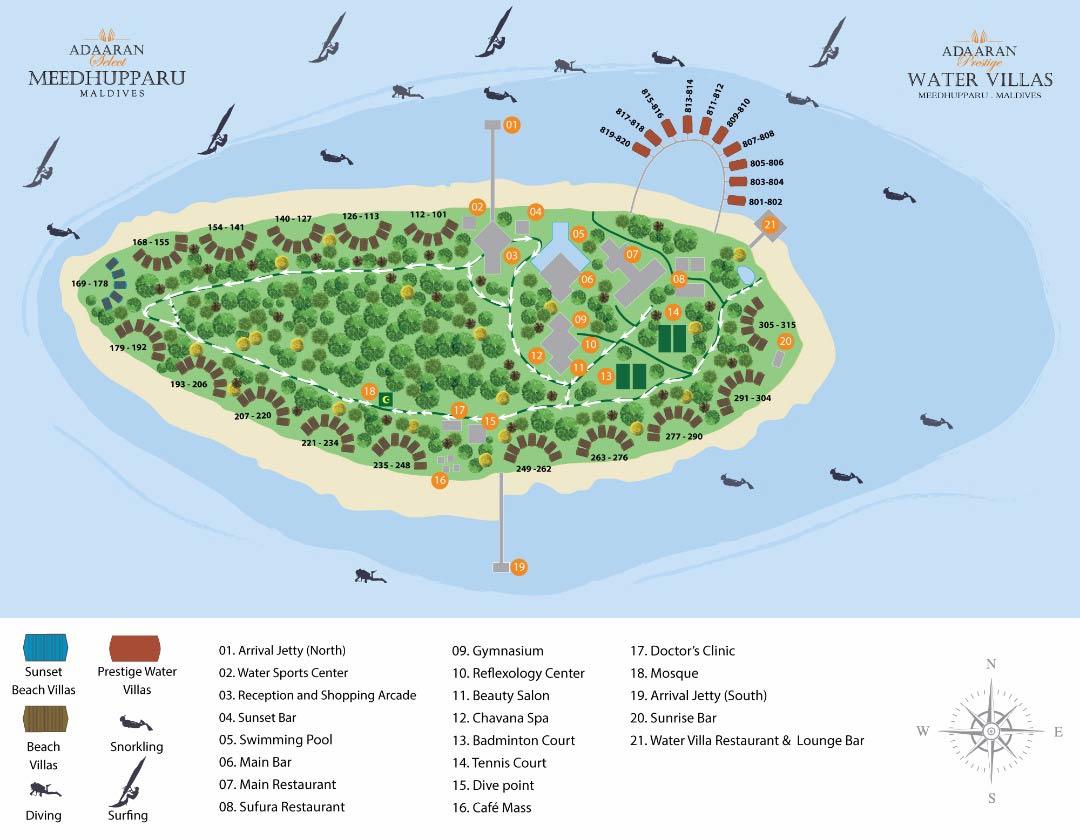 Lageplan Adaaran Prestige Meedhupparu Water Villas