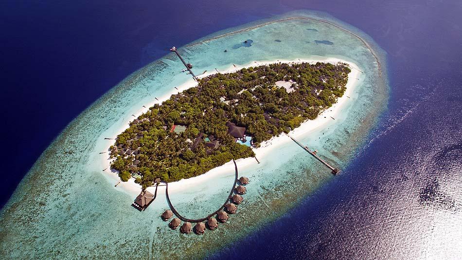 Inselansicht von oben, Adaaran Prestige Meedhupparu Water Villas, Maldives
