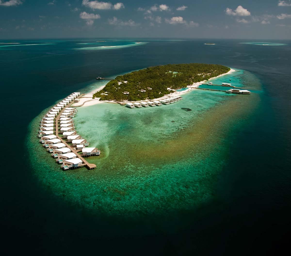 Vogelperspektive der Insel, Amilla Fushi, Malediven