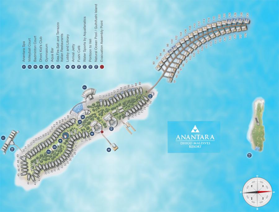 Lageplan Anantara Dhigu Maldives Resort