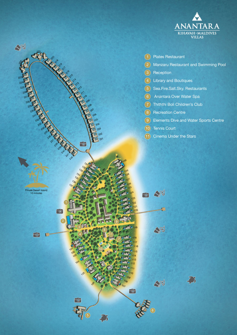 Lageplan Anantara Kihavah Villas