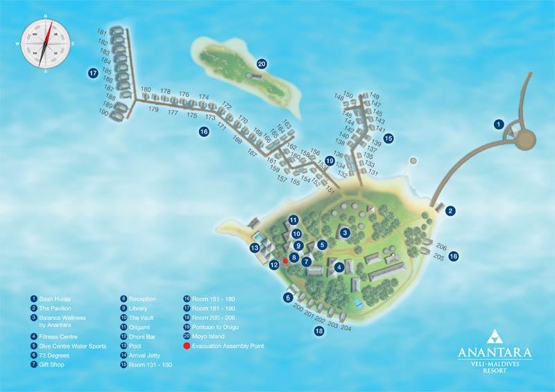 Lageplan Anantara Veli Maldives Resort