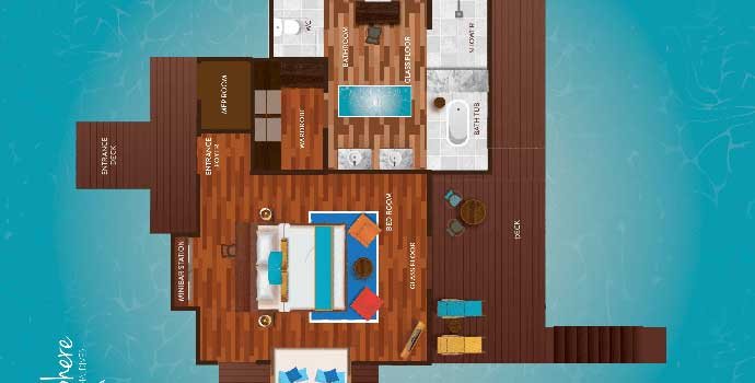 Water Villa, Floorplan, Atmosphere Kanifushi