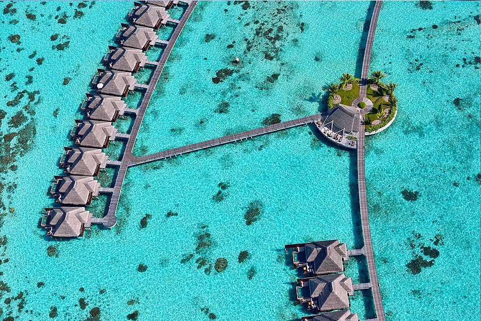 Water Villas von oben, Ayada Maldives