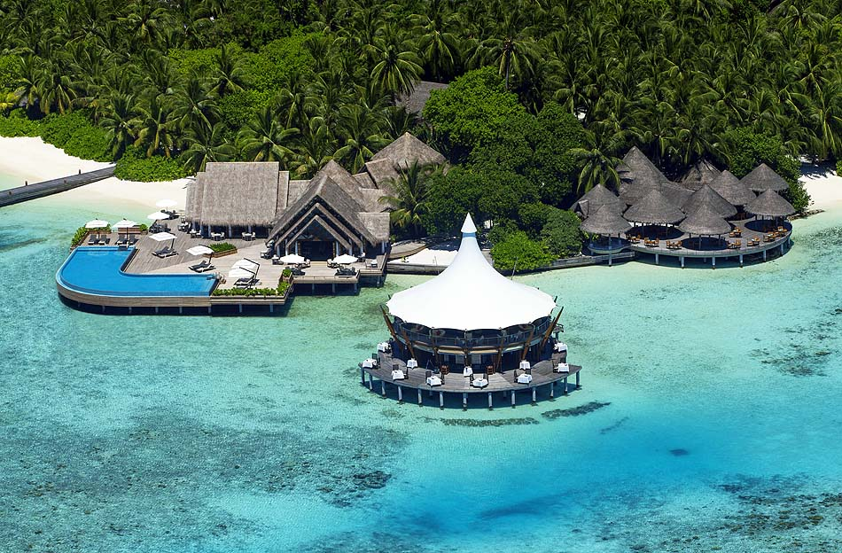 Restaurants, Luftansicht, Baros Maldives