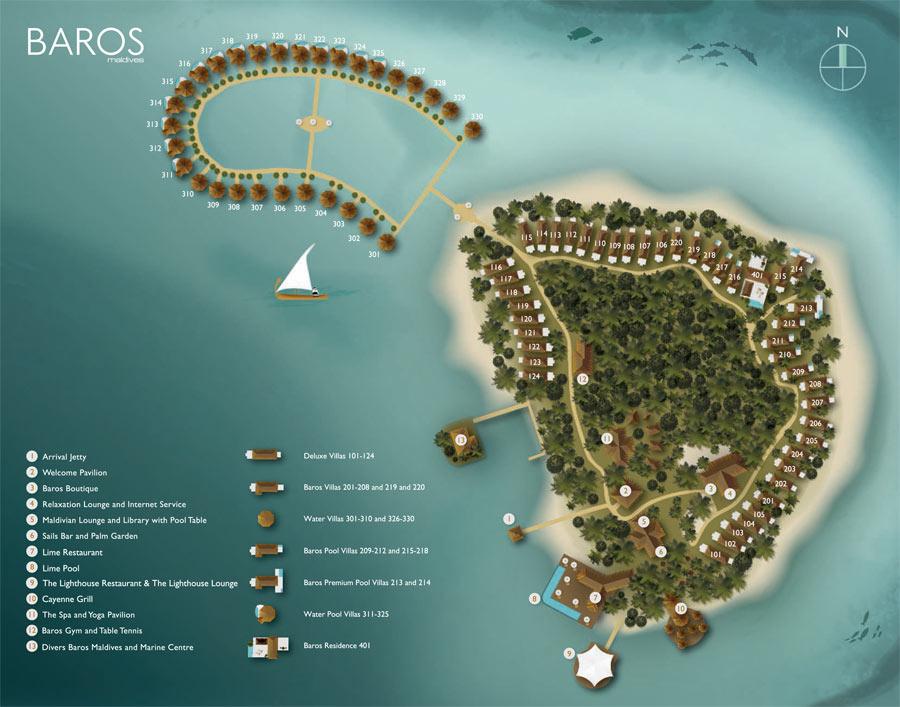 Lageplan Baros Maldives